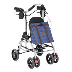 特高步日本老年人助行车可坐折叠收纳助行器遛弯买菜购物车 铝合金助步车 WAW02