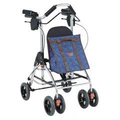 特高步日本助步器老人步行车助行器可折叠手推车支撑身体自动减速后轮不带减速刹车 WAW03