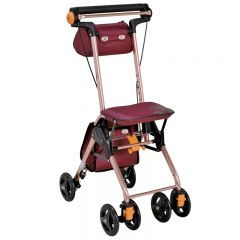 特高步日本购物车老人助行器超轻小便携折叠可坐老年手推车代步车T-CPS02 酒红色