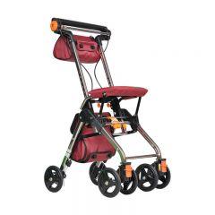 特高步日本购物车老人助行器超轻小便携折叠可坐老年手推车代步车 加大版T-CPS02A 酒红色